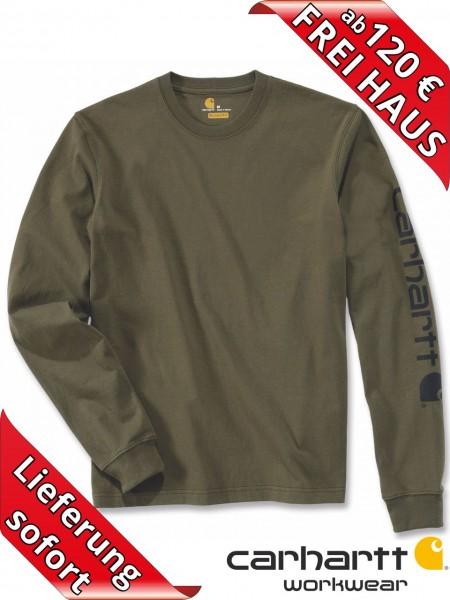 Carhartt T-Shirt langarm Logo Druck Long Sleeve EK231 army grün