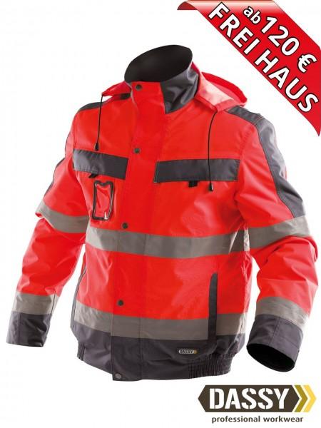 Warnschutz Winterjacke wasserdicht Jacke DASSY® Lima 500120 rot/grau