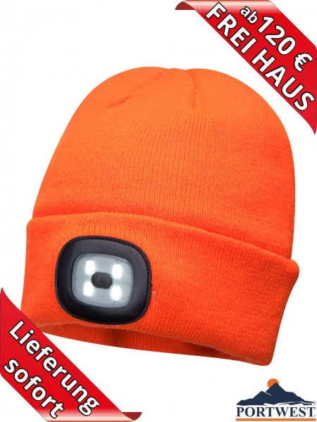 Portwest Winter Mütze Beanie LED Licht wiederaufladbar Strickmütze orange