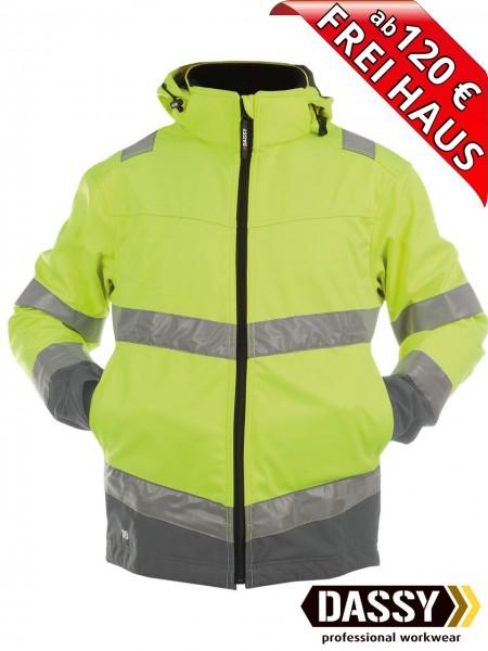 Warnschutz Softshell Jacke wasserdicht DASSY® Malaga 300329 gelb/grau