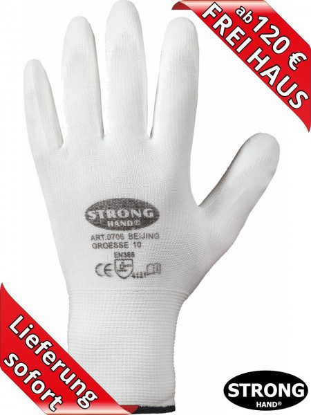 PU Arbeitshandschuhe CLASSIC BEIJING 0706 Handschuhe Stronghand weiss