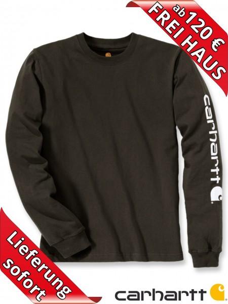Carhartt T-Shirt langarm Logo Druck Long Sleeve EK231 peat torfbraun