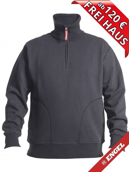 Zip Sweatshirt mit hohen Kragen Workwear Sweat FE ENGEL 8014-136 grau