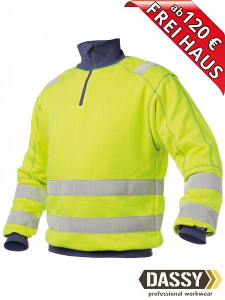 Warnschutz Zip Sweat Shirt DENVER DASSY 300376 gelb/blau hoher Kragen