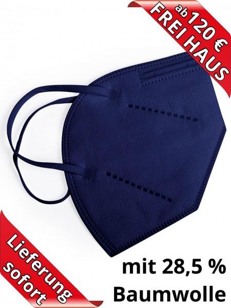 Atemschutzmaske FFP2 NR Einweg ohne Ventil Baumwolle in blau CE2834
