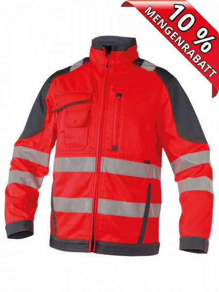 Warnschutz Arbeitsjacke Bundjacke ORLANDO DASSY 300367 rot/grau