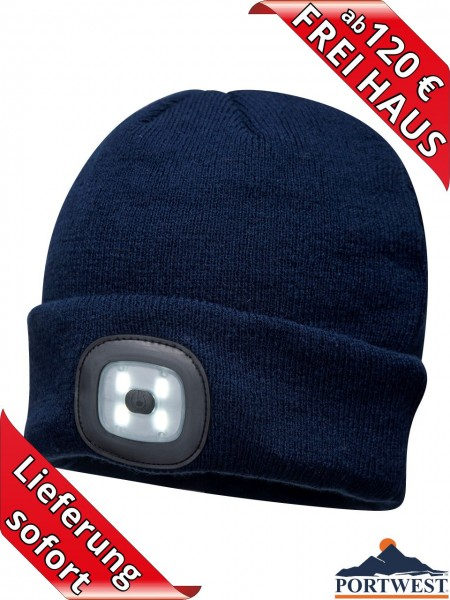 Portwest Winter Mütze Beanie LED Licht wiederaufladbar Strickmütze blau
