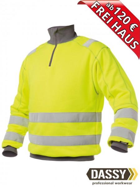 Warnschutz Zip Sweat Shirt DENVER DASSY 300376 gelb/grau hoher Kragen