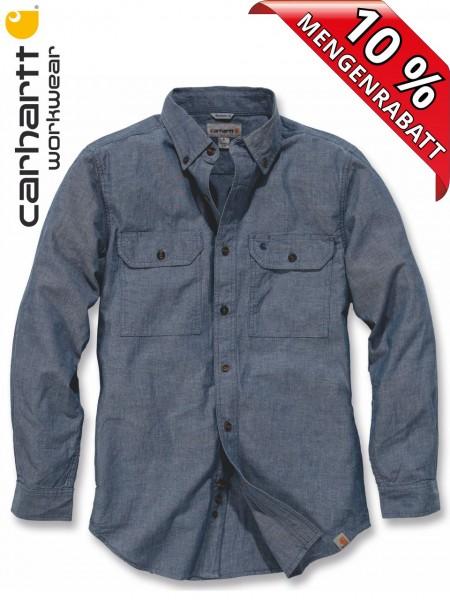 Carhartt Hemd langarm Fort Solid Long Sleeve Shirt S202 Jeans Blau
