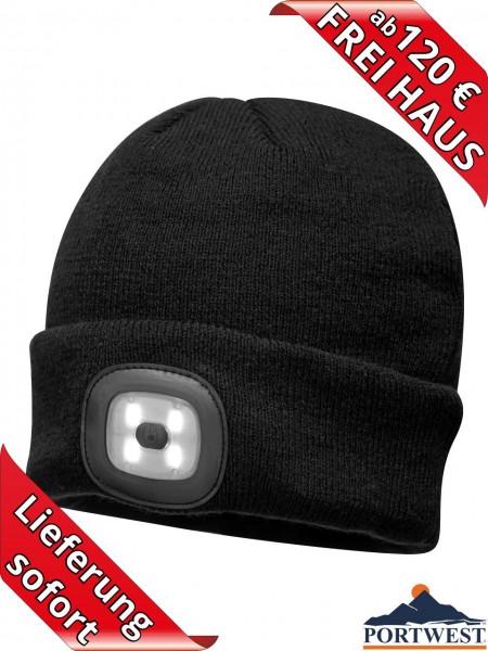 Portwest Winter Mütze Beanie LED Licht wiederaufladbar Strickmütze black