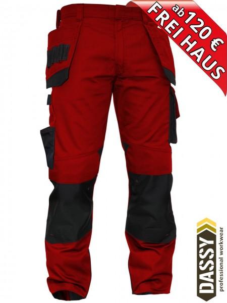 Arbeitshose Multitaschen Bundhose DASSY® MAGNETIC D-FX 200908 rot