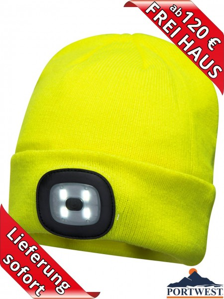 Portwest Winter Mütze Beanie LED Licht wiederaufladbar Strickmütze gelb