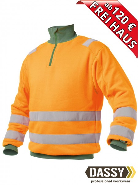 Warnschutz Zip Sweat Shirt DENVER DASSY 300376 orange/grün Kragen