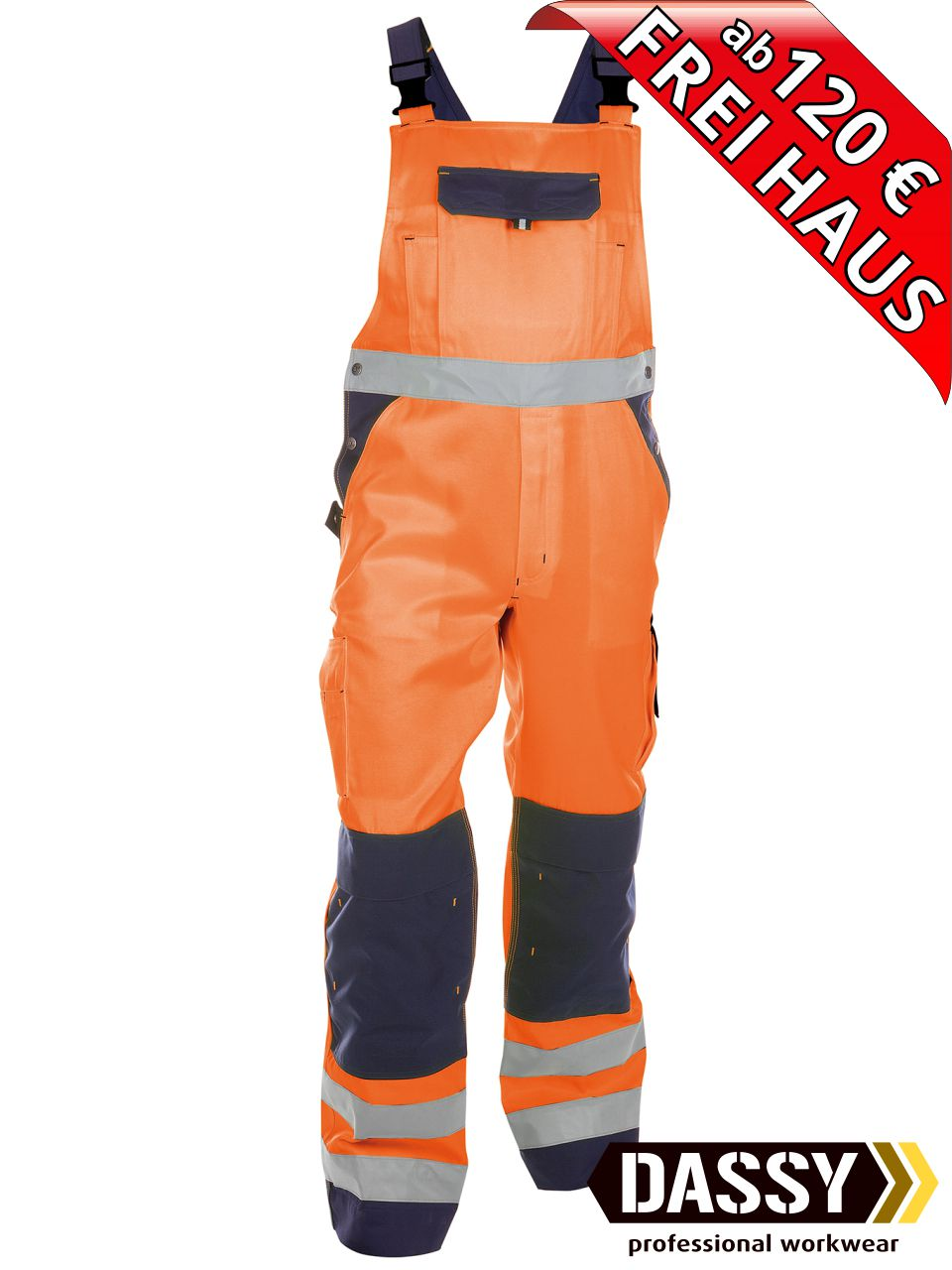 PFANNER Warn Short EN 20471 Stretch Zone orange Hose Arbeit Bau Handwerk Sommer