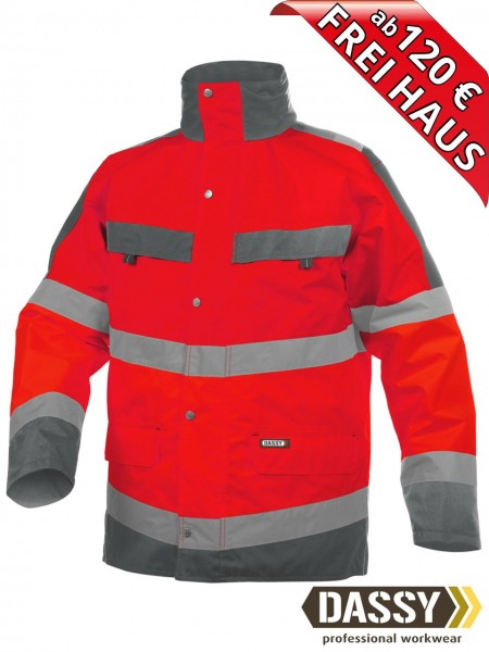 Warnschutz Regenjacke Parka Jacke ATLANTIS DASSY 300346 rot/grau