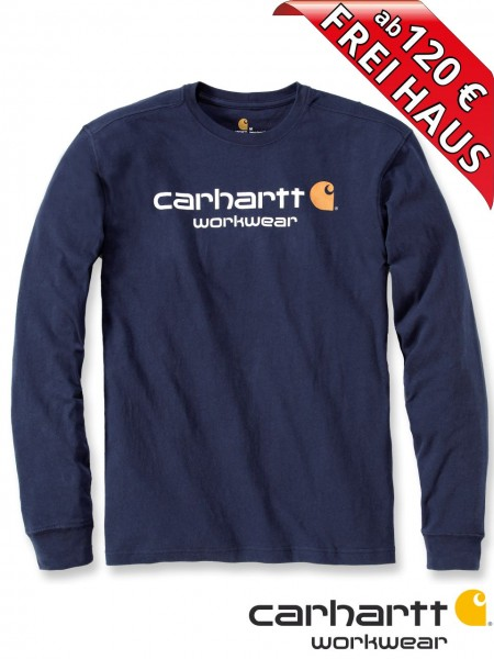 Carhartt T-Shirt langarm Core Logo Druck Long Sleeve 102564 navy blau