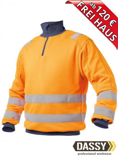 Warnschutz Zip Sweat Shirt DENVER DASSY 300376 orange/blau Kragen