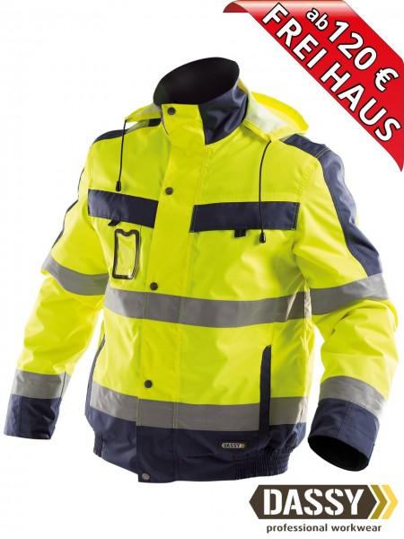 Warnschutz Winterjacke wasserdicht Jacke DASSY® Lima 500120 gelb/blau