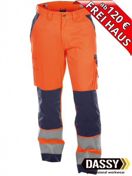 Warnschutz Bundhose Kniepolster BUFFALO DASSY 200431 orange/blau