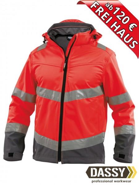 Warnschutz Softshell Jacke wasserdicht DASSY® Malaga 300329 rot/grau