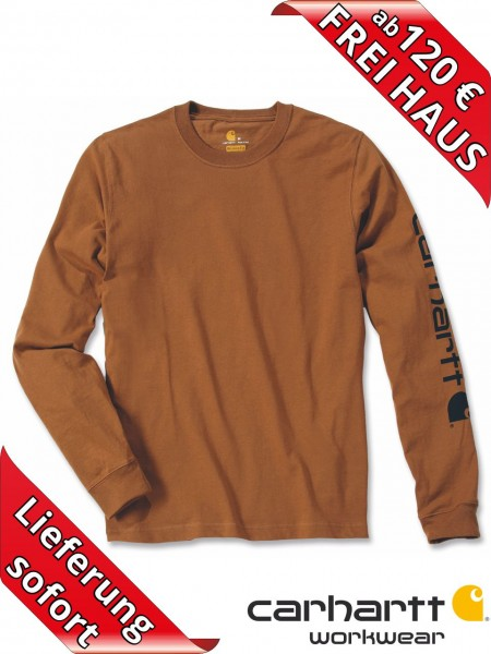 Carhartt T-Shirt langarm Logo Druck Long Sleeve EK231 braun