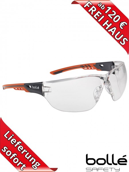 Bollé Safety Schutzbrille NESS+ NESSPPSI Klar PLATINUM Beschichtung orange