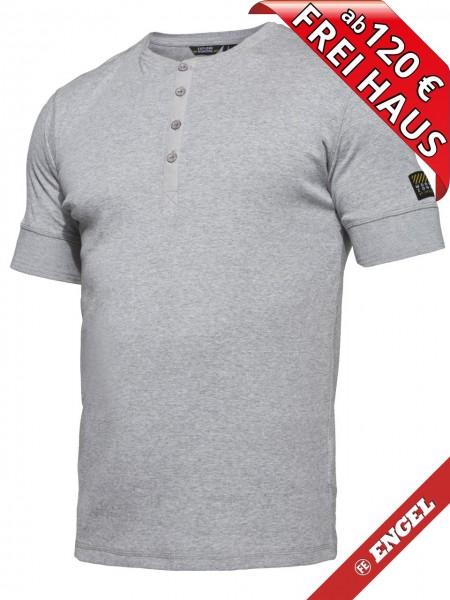 T-Shirt kurzarm Knopfleiste FEINRIPP Shirt EXPLORE WORKZONE 0929-565 grau