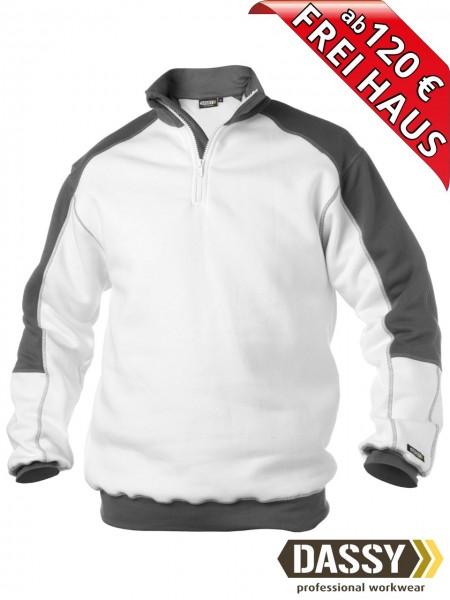DASSY® Basiel zweifarbiges Zip Sweatshirt Kragen Maler 300358 weiss grau
