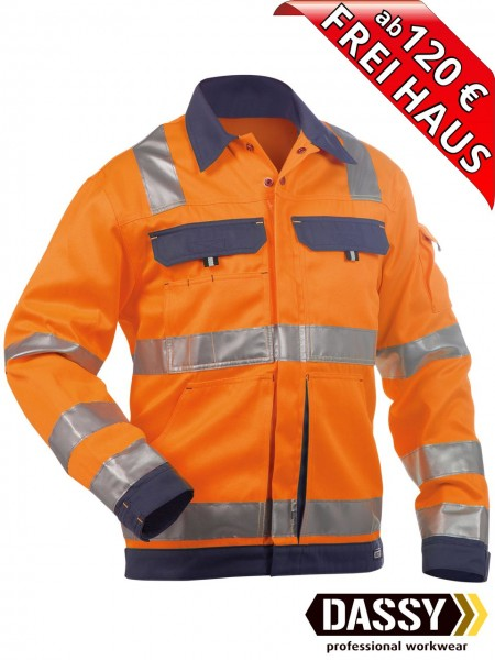 Warnschutz Arbeitsjacke Jacke DUSSELDORF DASSY 300184 orange/blau
