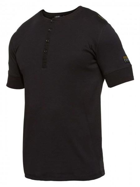 T-Shirt kurzarm Knopfleiste FEINRIPP Shirt EXPLORE WORKZONE 0929-565 black