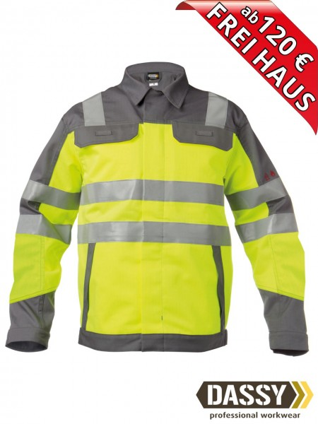 Multinorm Warnschutz Arbeitsjacke zweifarbig FRANKLIN DASSY 300374 gelb/grau