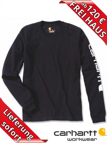 Carhartt T-Shirt langarm Logo Druck Long Sleeve EK231 schwarz
