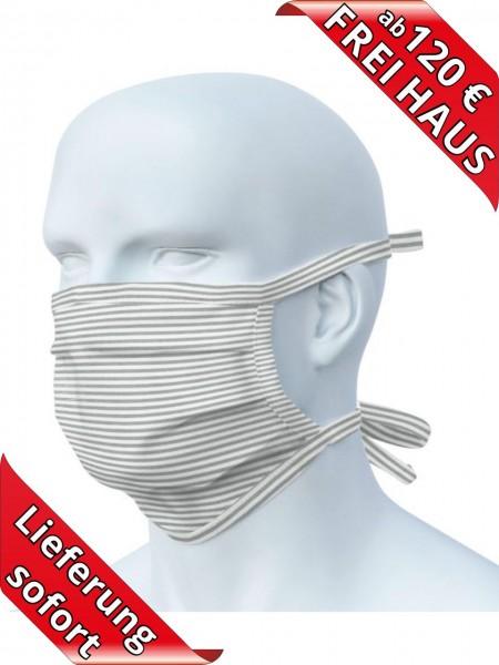 Mund Nasen Maske Mundschutz zum Binden Mehrweg waschbar 90 Grad grau