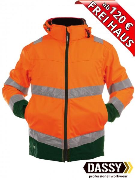 Warnschutz Softshell Jacke wasserdicht DASSY® Malaga 300329 orange/grün