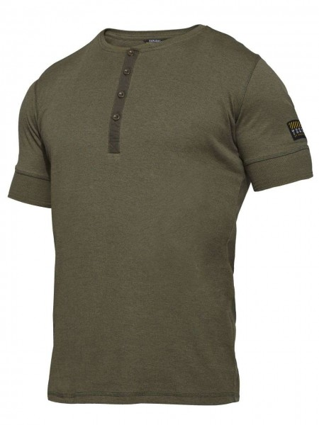 T-Shirt kurzarm Knopfleiste FEINRIPP Shirt EXPLORE WORKZONE 0929-565 grün