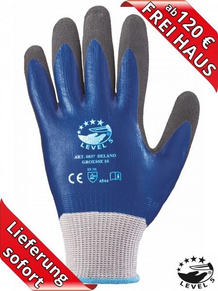 Schnittschutz Handschuhe Nitril LEVEL 5 DELANO 0837 vollbeschichtet blau