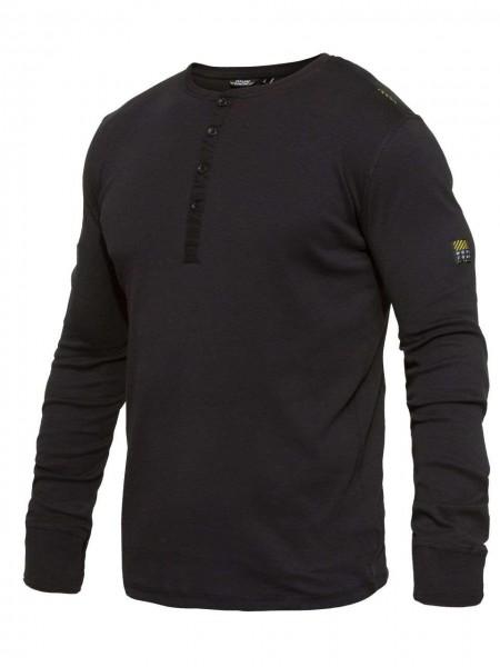 T-Shirt langarm Knopfleiste FEINRIPP Shirt EXPLORE WORKZONE 0930-565 black