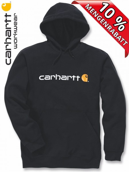 Carhartt Kapuzenpulli Logo Hooded Sweat Shirt Hoody Druck 100074 schwarz