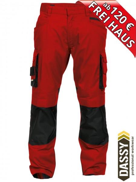Arbeitshose Bundhose DASSY® Nova Kniepolster D-FX 200846 rot