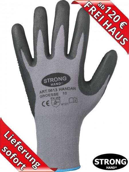 Nitril Arbeitshandschuh HANDAN 0613 Feinstrick Handschuhe Stronghand grau
