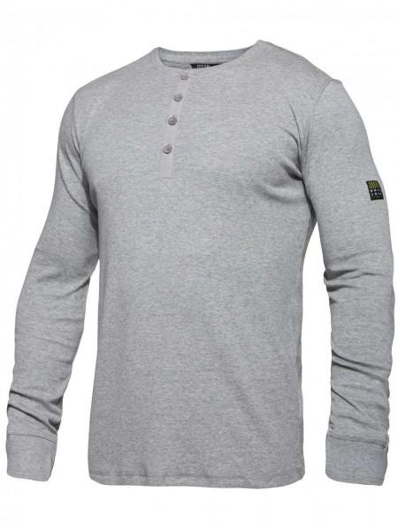 T-Shirt langarm Knopfleiste FEINRIPP Shirt EXPLORE WORKZONE 0930-565 grau