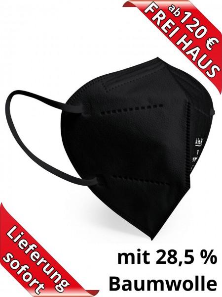 Atemschutzmaske FFP2 NR Einweg ohne Ventil Baumwolle in schwarz CE2834