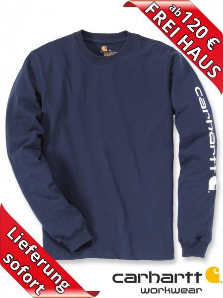Carhartt T-Shirt langarm Logo Druck Long Sleeve EK231 navy blau