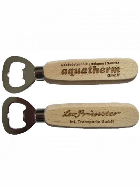 Flaschenöffner Kapselheber Buchenholz mit Logo Lasergravur
