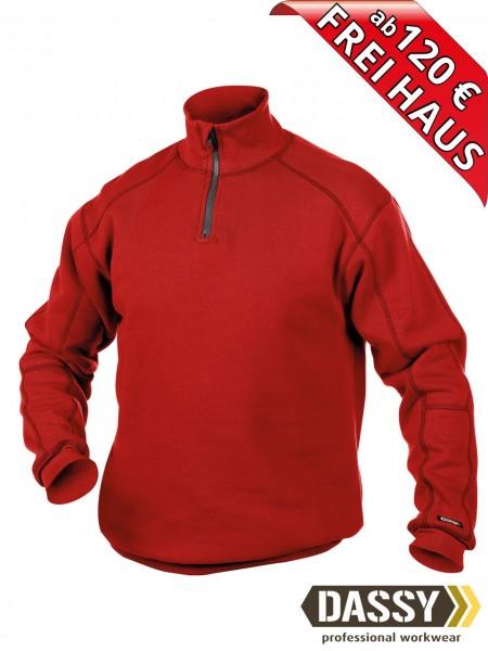 DASSY® Felix Zip Sweatshirt hoher Kragen Reißverschluss 300270 rot