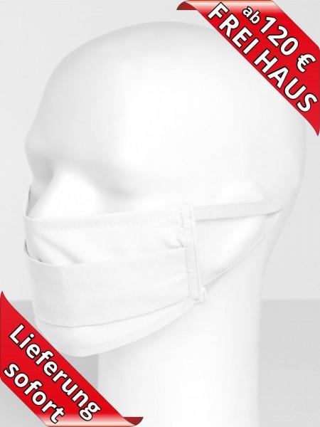 Mund Nasen Maske Mundschutz Mehrweg waschbar 75 Grad weiss Gummi