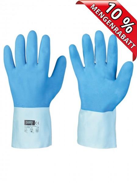 Latex Chemikalienschutz Handschuhe 30 cm MORATUWA Surf 0465 Chemie blau
