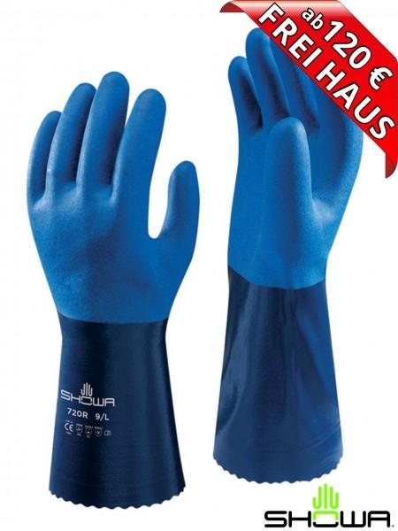 SHOWA 720R Nitril Chemiekalienschutz Handschuhe blau Beschichtung 720