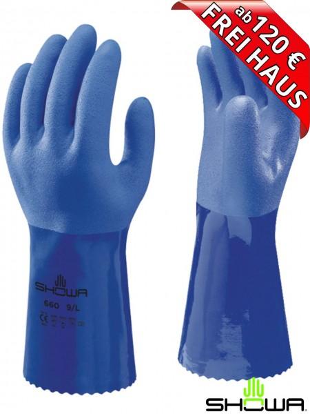 SHOWA 660 Oil Resistant Chemikalienschutz Handsschuhe PVC 30 cm blau