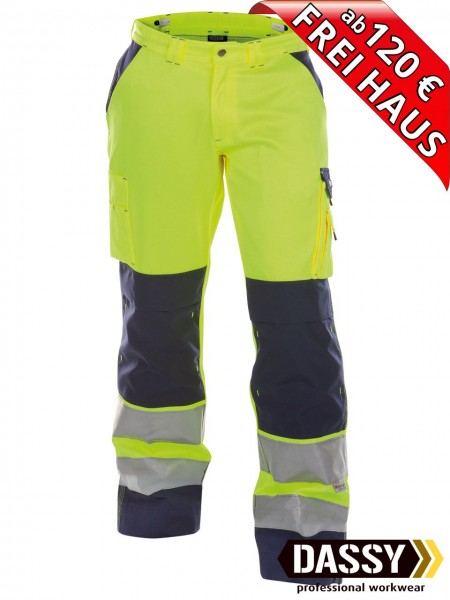 Warnschutz Bundhose Kniepolster BUFFALO DASSY 200431 gelb/blau